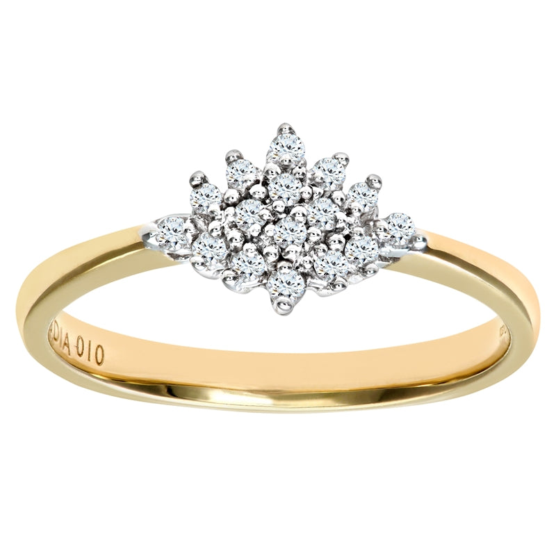 0.17ct Round Diamond Cluster Ring In UK Hallmarked 9ct Yellow Gold