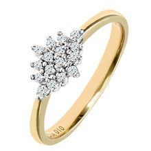 Load image into Gallery viewer, 0.17ct Round Diamond Cluster Ring In UK Hallmarked 9ct Yellow Gold