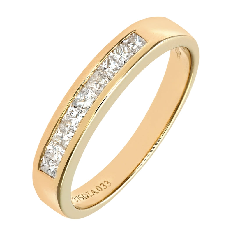 0.33ct Channel Set Princess Diamond Half Eternity Ring In UK Hallmarked 9ct Yellow Gold