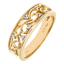 Load image into Gallery viewer, 0.03ct Round Diamond Pave Set Statement Ring In UK Hallmarked 9ct Yellow Gold