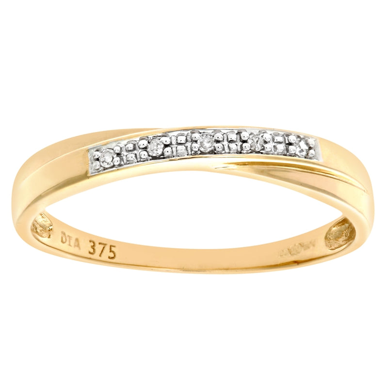 Diamond Pave Twist Half Eternity Ring In UK Hallmarked 9ct Yellow Gold
