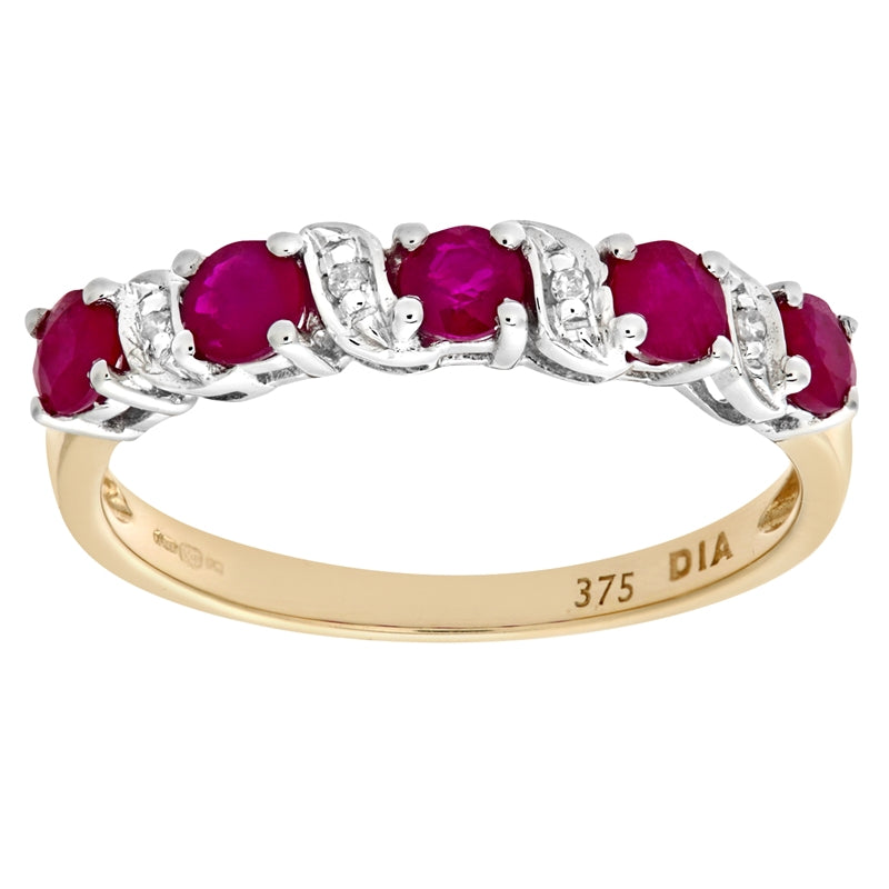 0.8ct Prong Set Ruby And Diamond Pave 5 Stone Ring In UK Hallmarked 9ct Yellow Gold