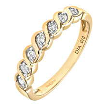 Load image into Gallery viewer, 0.1ct Round Diamond Bezel Set 7-Stone Eternity Ring In UK Hallmarked 9ct Yellow Gold