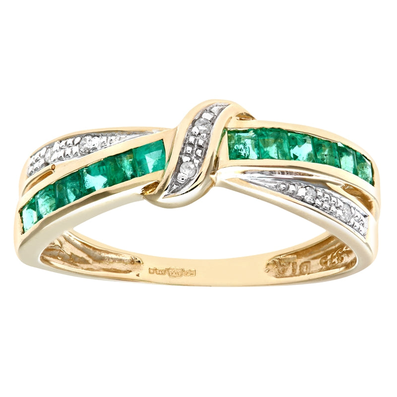 0.53ct Channel Set Square Emerald And Diamond Pave Crossover Eternity Ring In UK Hallmarked 9ct Yellow Gold