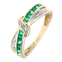 Load image into Gallery viewer, 0.53ct Channel Set Square Emerald And Diamond Pave Crossover Eternity Ring In UK Hallmarked 9ct Yellow Gold