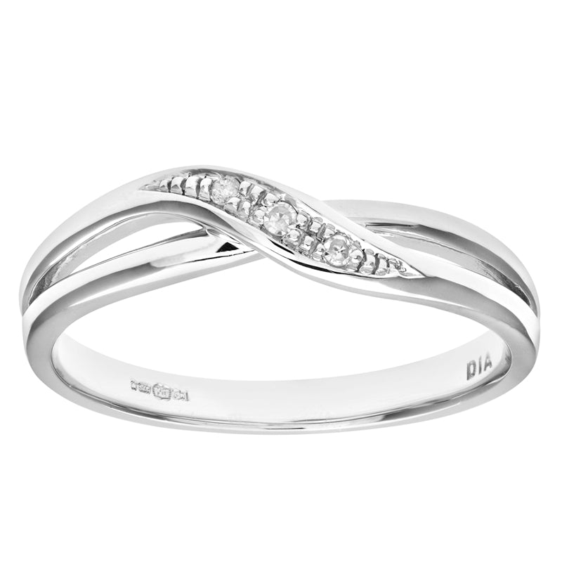 Round Diamond Crossover Eternity Pave Set Ring In UK Hallmarked 9ct White Gold