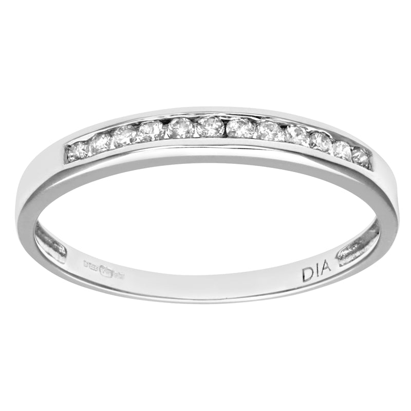 0.12ct Round Diamond Channel Set Half Eternity Ring In UK Hallmarked 9ct White Gold