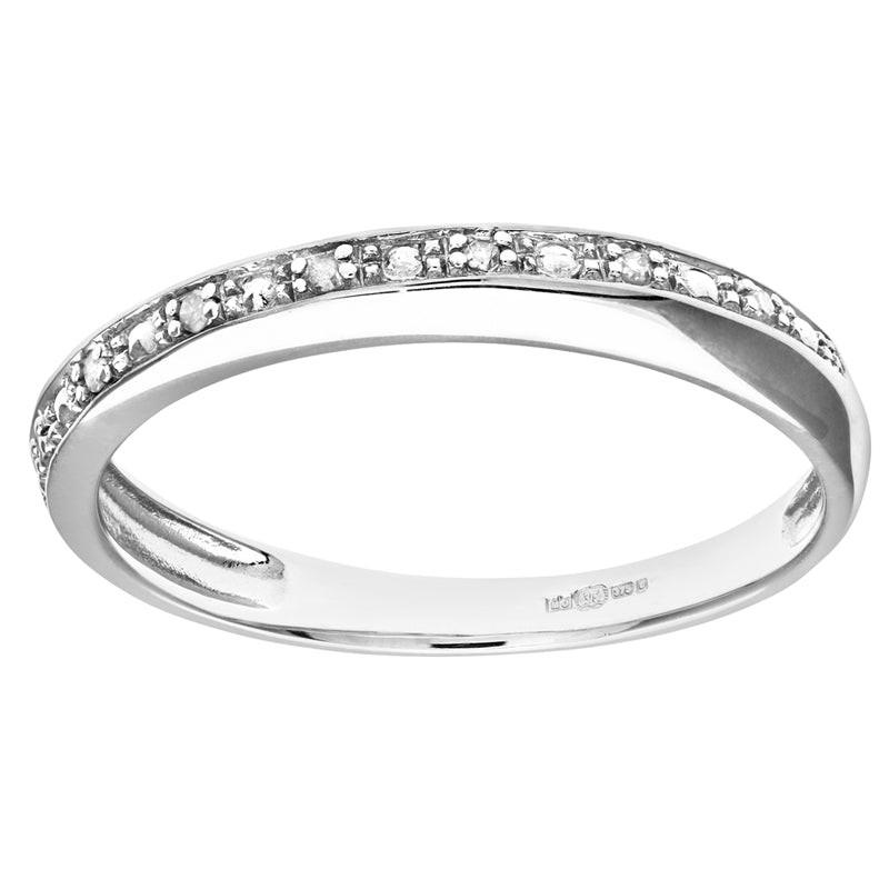 Pave Set Diamond Twist Half Eternity Ring In UK Hallmarked 9ct White Gold