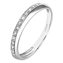 Load image into Gallery viewer, Pave Set Diamond Twist Half Eternity Ring In UK Hallmarked 9ct White Gold