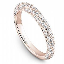 18k Rose Gold Swirl Style Diamond Band STB23-1RS-D