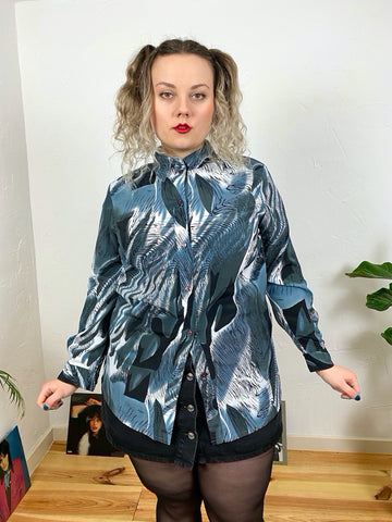 UK18 Abstract blouse 80's