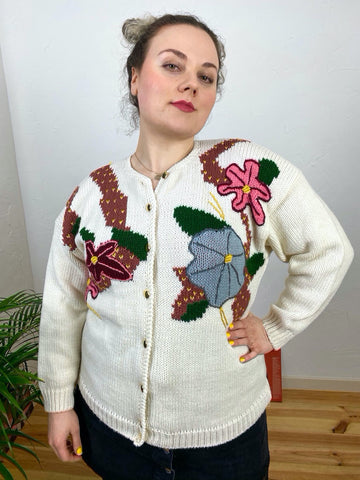 EU46 Bestickte Strickjacke - Made in Italy