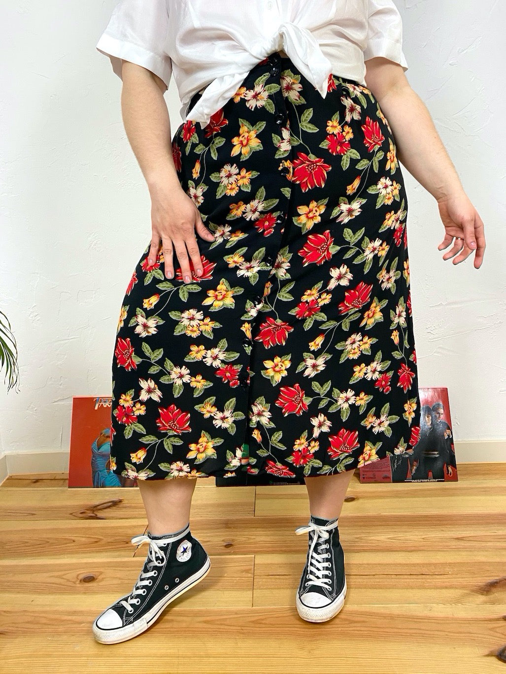 UK18/20 Flower skirt 90s
