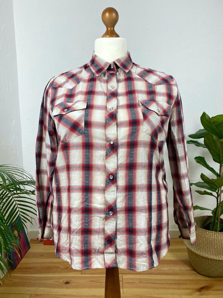UK20 Plaid blouse with Lurex