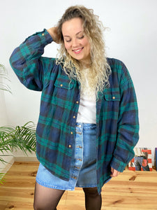 "UK22 Lined flannel shirt ""Seaweed"""