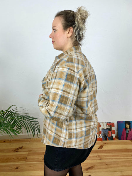 "UK18 Lined flannel shirt ""Sand dune"""
