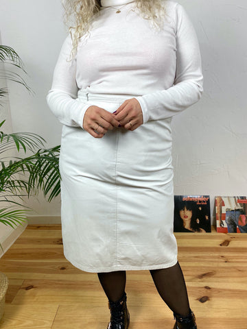 UK18 White leather skirt with pockets
