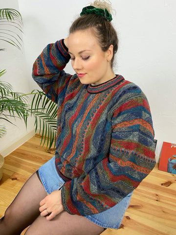 "UK18 Colourful jumper by ""Tundra"" - Made in Canada"