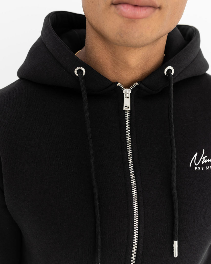Essential Full Zip Hoodie - Black