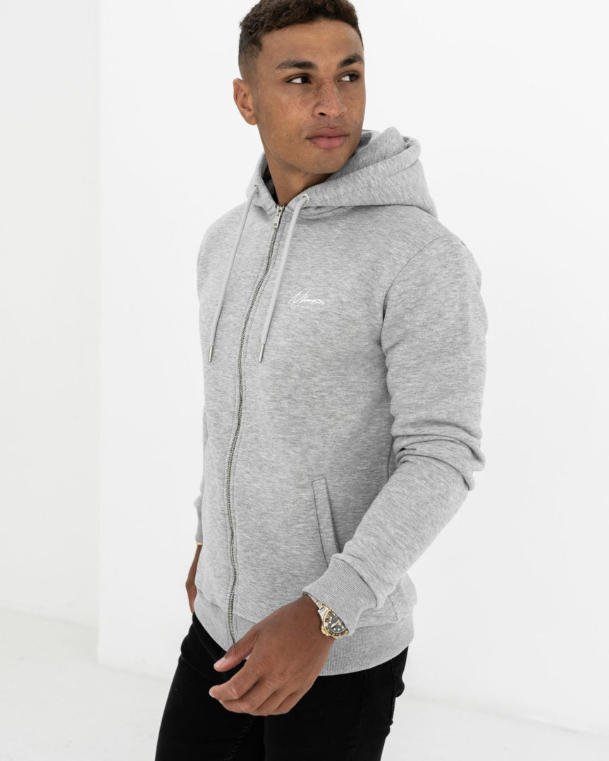 Essential Full Zip Hoodie - Grey Marl