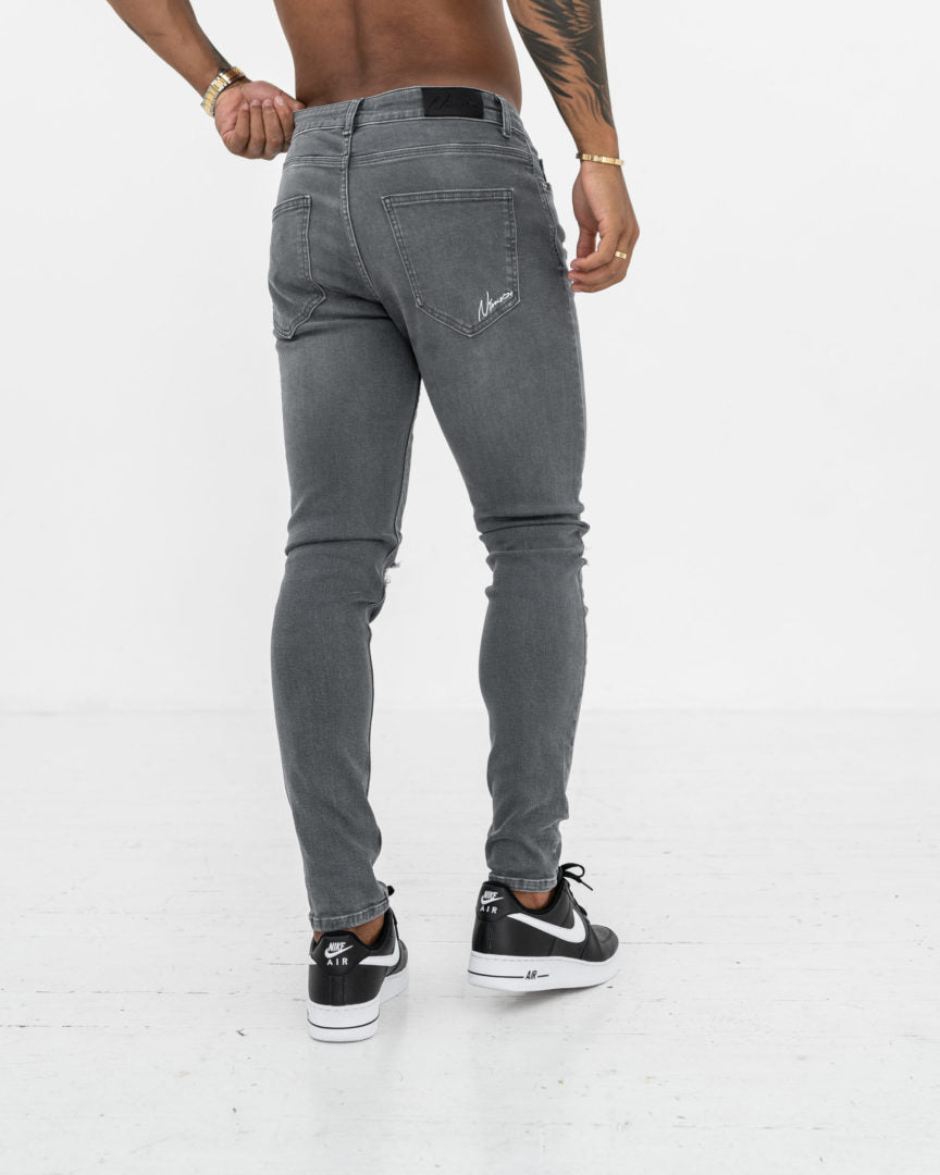 Ripped Knee Skinny Jeans - Mid Grey