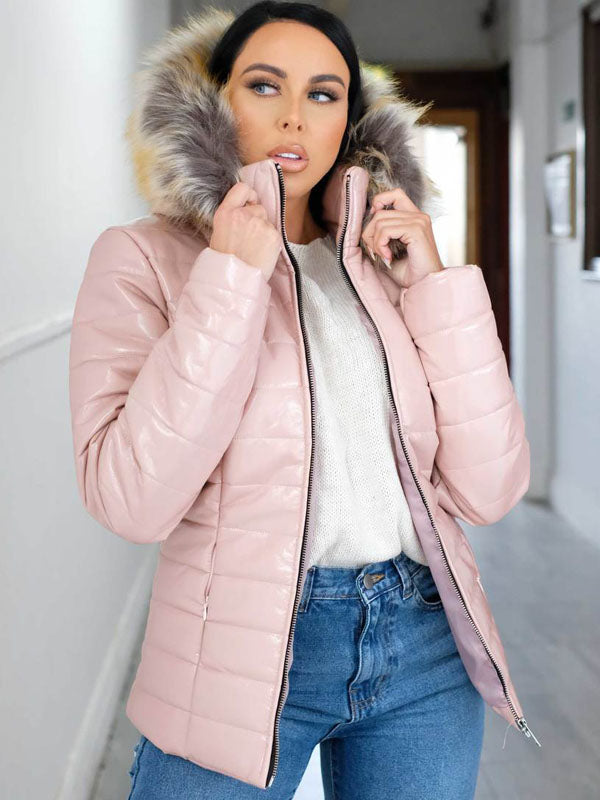 Vinyl Faux fur hooded jacket