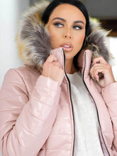 Load image into Gallery viewer, Franckie Vinyl Faux Fur Hood Jacket Pink