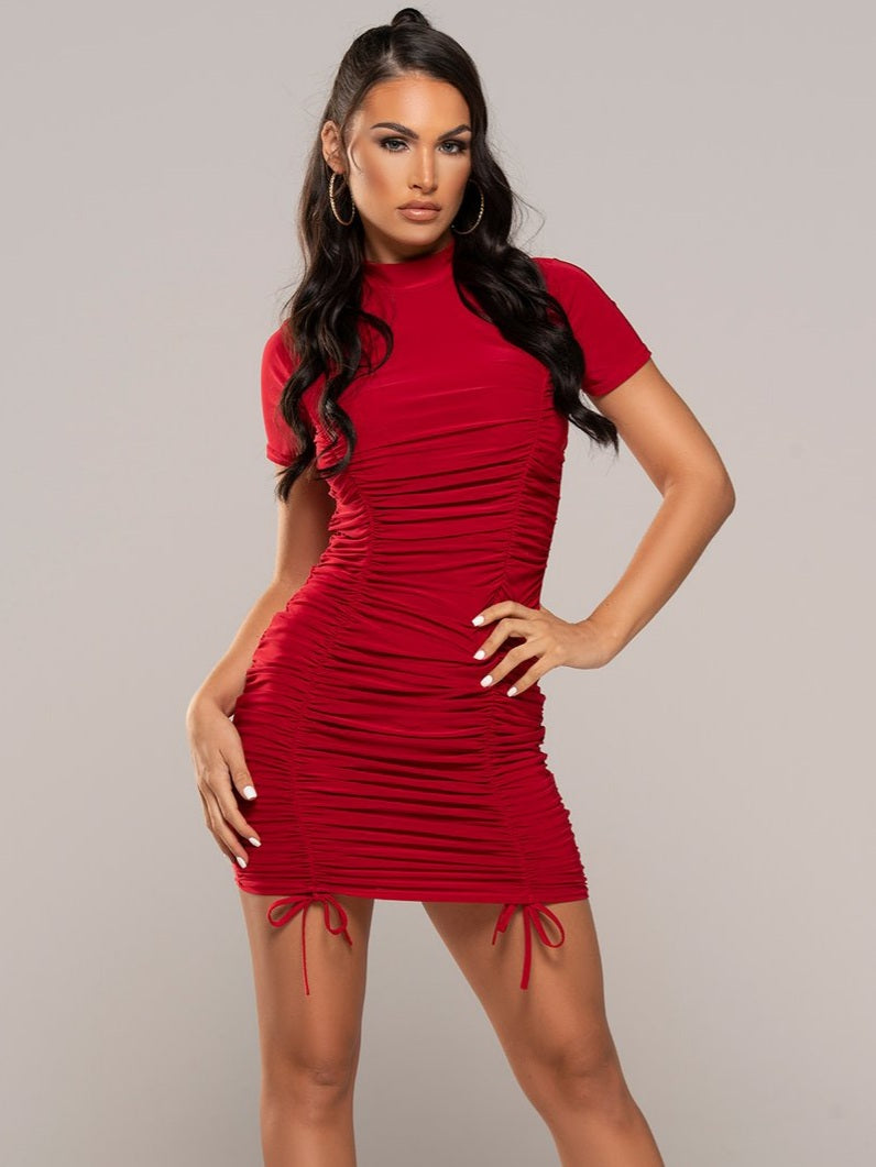 Pearl Ruched Dress Red