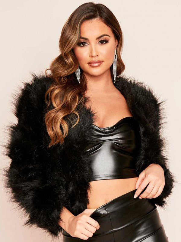 Rabia Faux Fur Jacket in Black