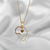Africa Heart Outline Necklace