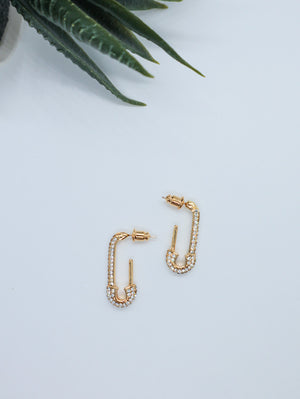 Open image in slideshow, NOVA Rhinestone Safety Pin Earrings