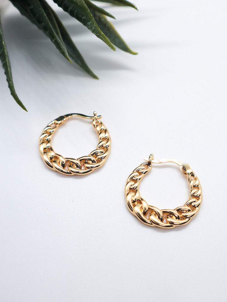 WENDY Flat Plaited Chain Hoop Earrings
