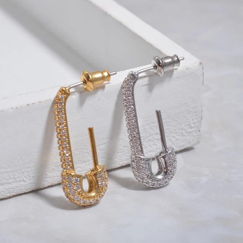 NOVA Rhinestone Safety Pin Earrings