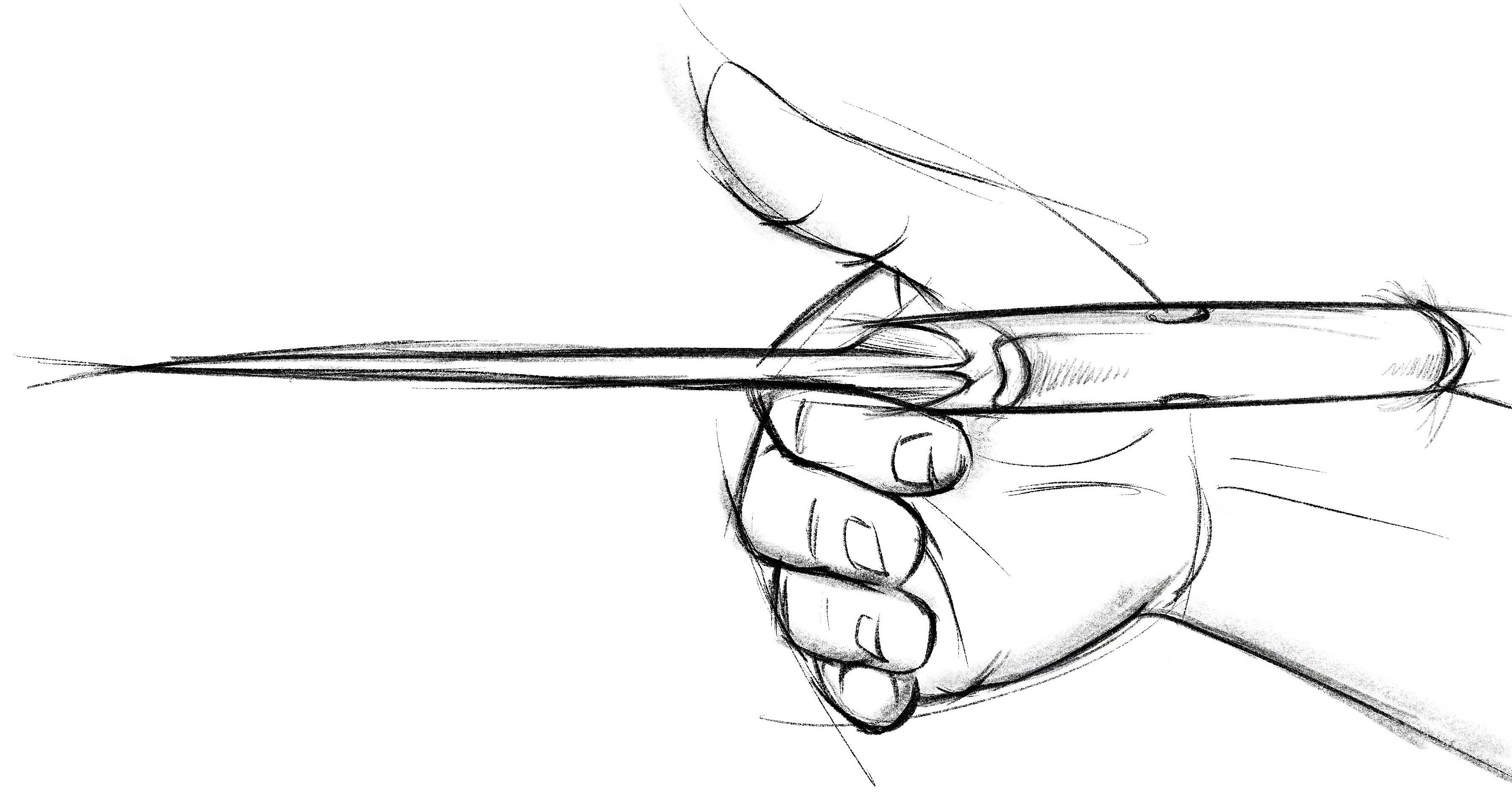 A sketch of a kitchen knife being balanced on a finger where the handle meets the blade.