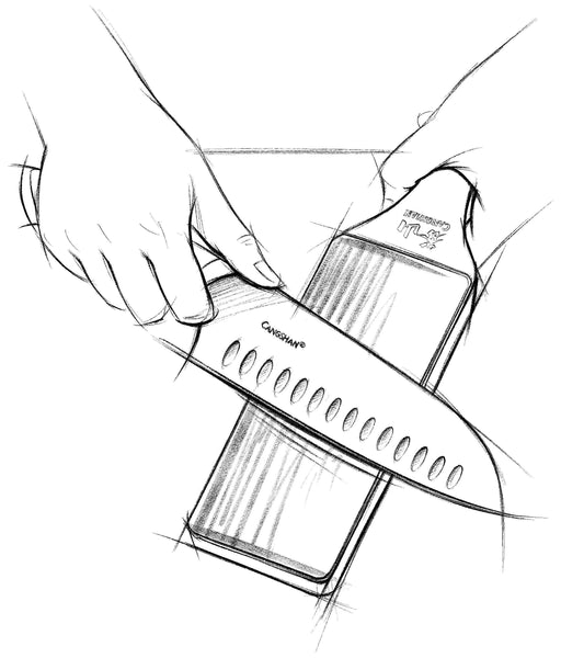 A sketch of a knife's edge being refined on a leather strop loaded with a fine grit polishing compound.