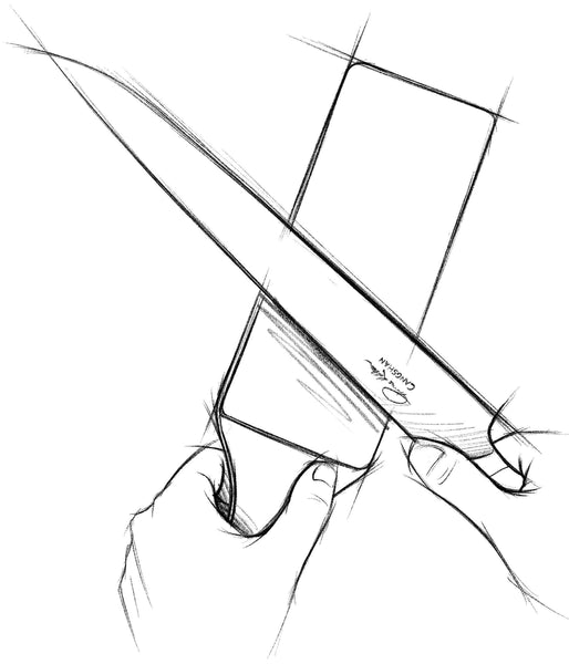 A sketch of a knife's edge being refined on a leather strop.