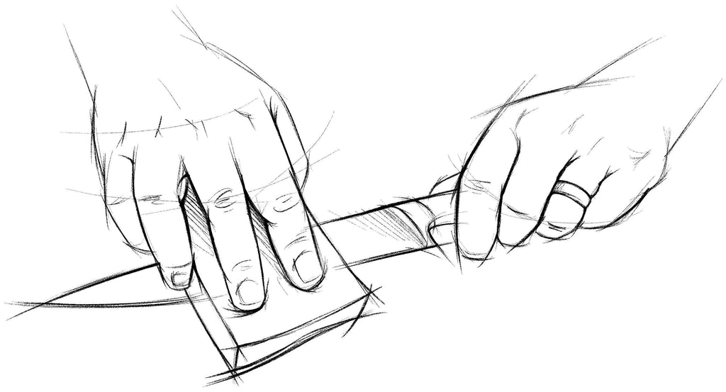 A sketch of a kitchen knife's blade being cleaned with a sponge.