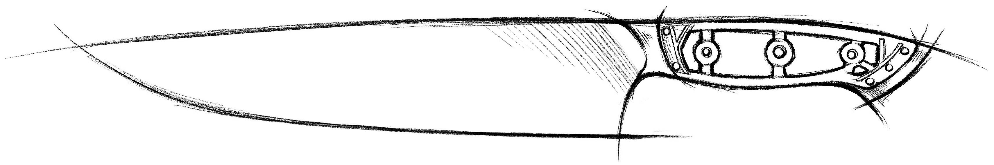 A sketch a kitchen knife in profile showing the internal structure of the handle.