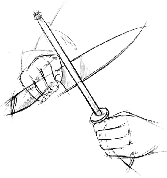 A sketch of a kitchen knife being honed on a honing steel being held upwards.