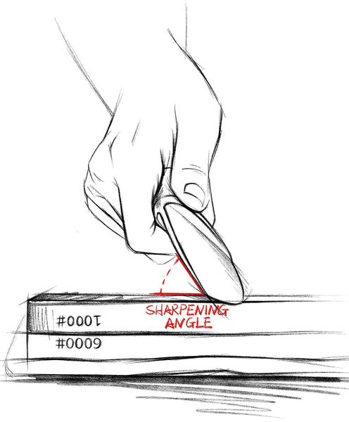 A sketch of the edge of a kitchen knife touching the surface of a double sided whetstone to demonstrate how to find the correct angle to sharpen the knife's edge.