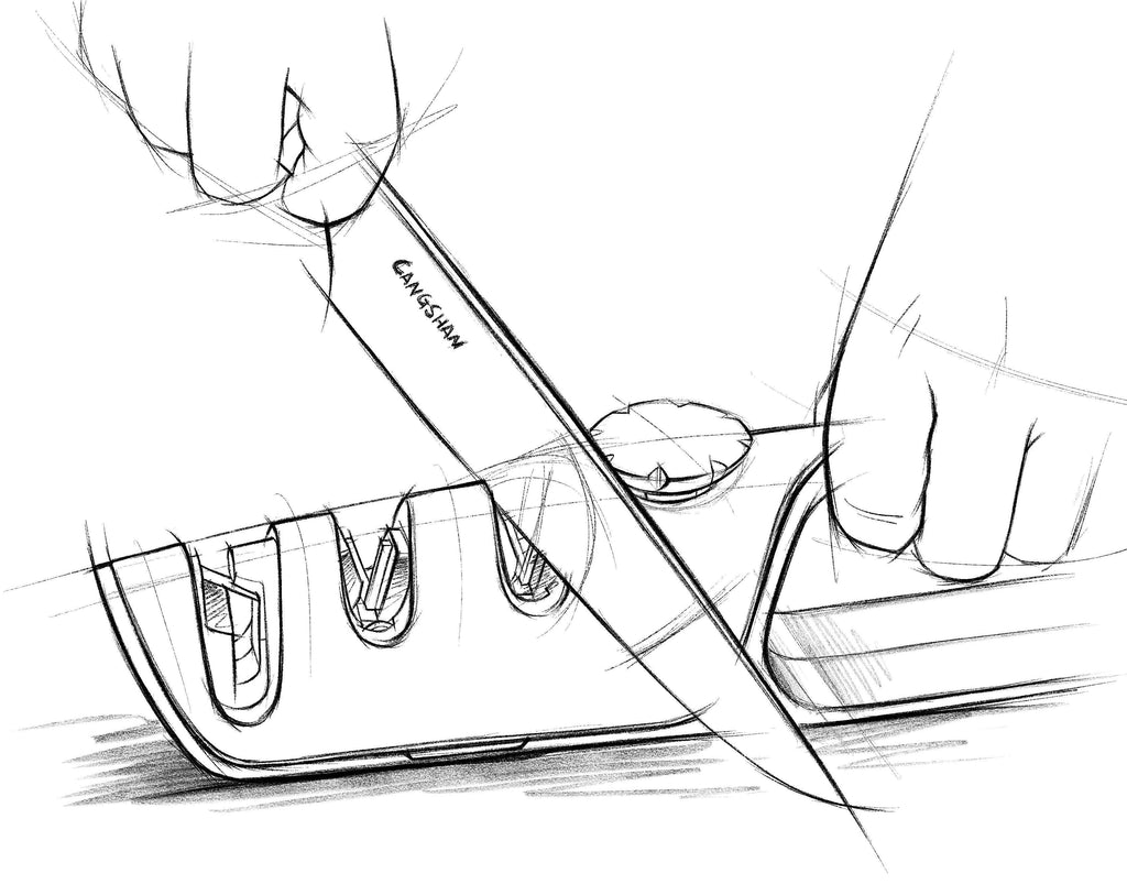 A sketch of a kitchen knife being sharpened with a pull through knife sharpener.