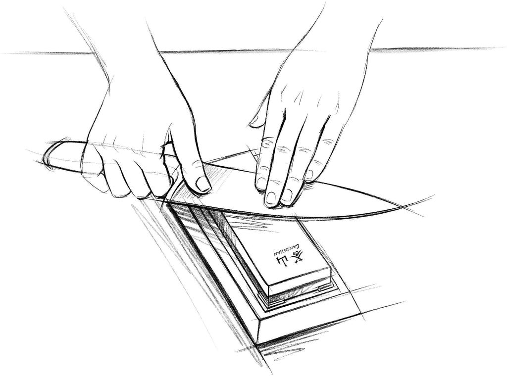 A sketch of a kitchen knife being manually sharpened on a whetstone in a wooden base.