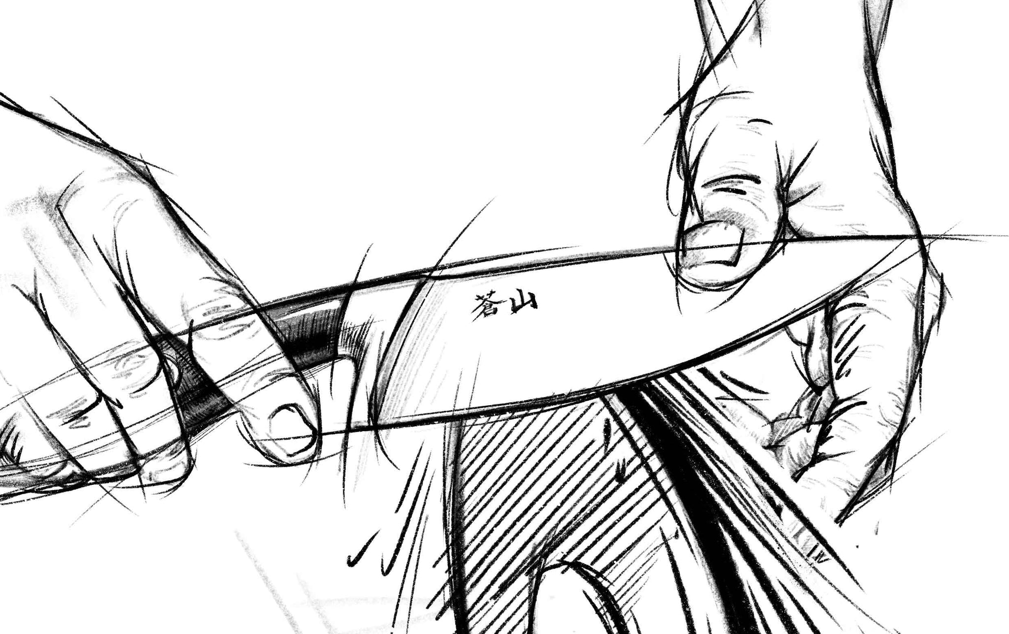 A sketch of a knife being hand sharpened on a sharpening wheel.
