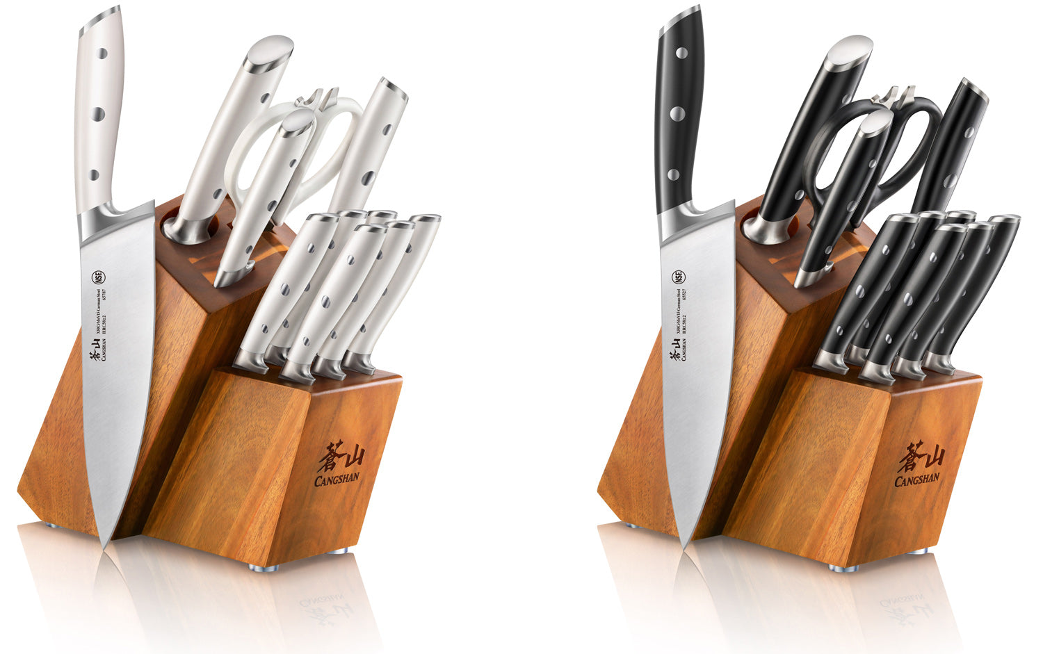 Side profile of ALPS Series 12 piece knife combos next to an 8 inch chef's knife from the set.