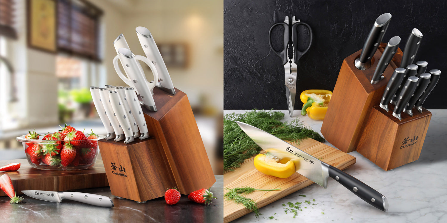 Lifestyle photos of ALPS Series 12 piece knife block combos on top of marble countertops with fresh cut fruits and vegetables on wood cutting boards..