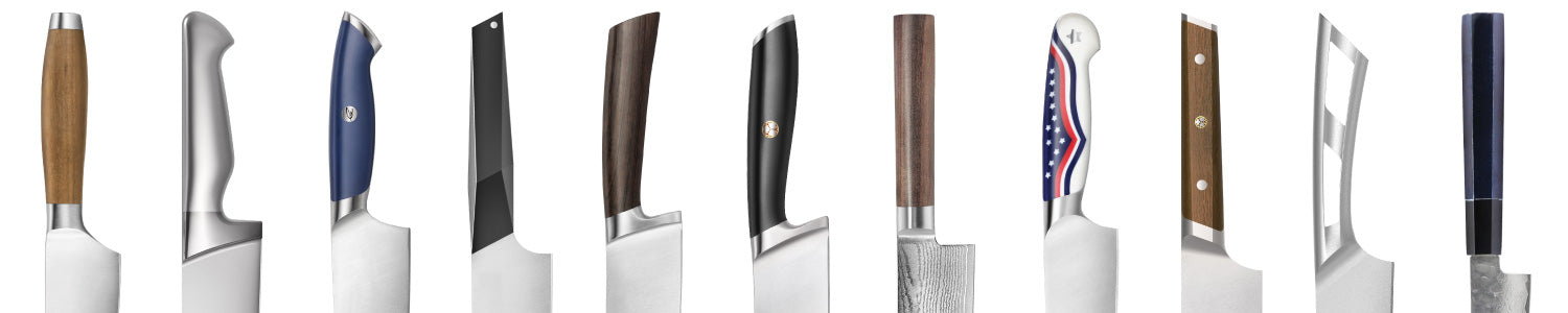 Eleven knife handles of various designs and materials ranging from metal to plastic composites to wood.