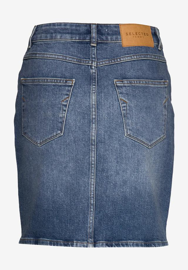 SELECTED HOMME-Kenna MW Mid Blue Denim Skirt - BACKYARD