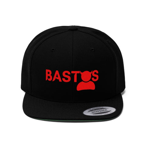 """Bastos"" - Embroidered Flat Bill Hat - Snapback Hats Black One size"