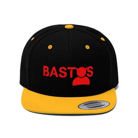 """Bastos"" - Embroidered Flat Bill Hat - Snapback Hats Black/Gold One size"