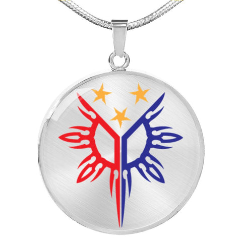 Filipino Heritage, Tribal Warrior Sun - Luxury Necklace (Stainless Steel or Gold Finish) Jewelry